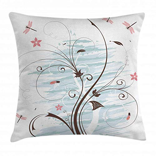 Alan Connie Dragonfly Pillow Cover,Grunge Paint Flower Swirled Branches Buds Abstract Spring Nature Image,45 X 45 CM