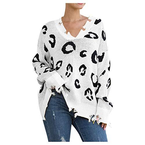 Suéter de Punto de Manga Larga Informal con Cuello en V para Mujer Jersey Casual de Punto con Estampado de...
