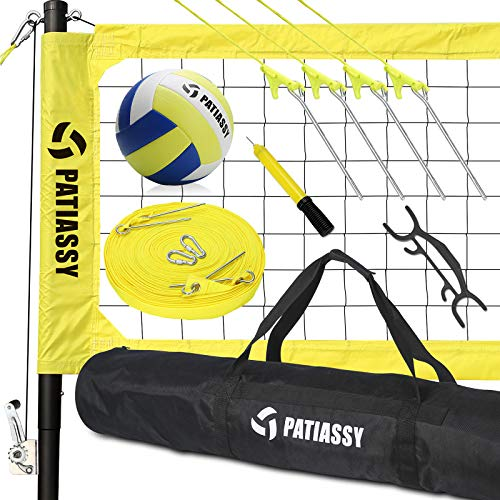 Patiassy Portable Professional Outdoor Volleyball Net Set with Winch System, Adjustable Height Aluminum Poles, Volleyball with Pump and Carrying Bag for Backyard Beach