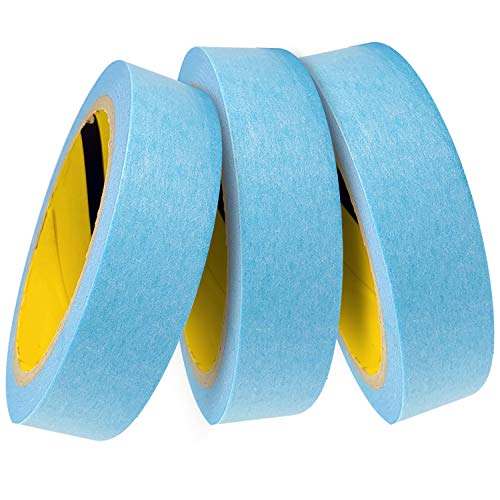 Blue Painters Washi Tape Set - 3 Rolls Multi Size Pack - Delicate Surfaces - No Residue Masking Tape - Heat Resistant for Painting - Drafting Craft Artist - Thin Thick (1 inch (24mm) x 44 Yard)