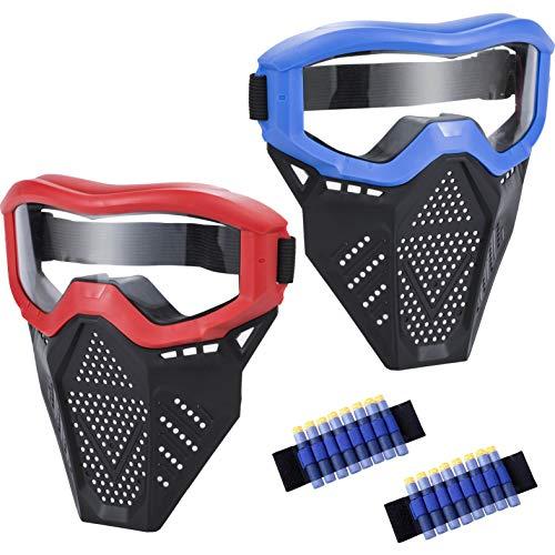 MeimoS 2 Pack táctico Face Shield máscara de protección anteojos – Protección de Ojos para niños Rojo y Azul – Compatible con Nerf Rival, Apollo, Zeus, Khaos, Atlas, Artemis y N-Strike Elite Blasters