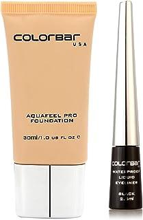 Colorbar Aqua Feel Foundation, Sand Castle, 30ml + Colorbar Waterproof Liquid Eyeliner, Black