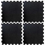etm Pavimento Palestra Protettivo - Tappeto Fitness Palestra a Puzzle, Componibile | Set da 4 Pezzi 50x50 cm (1 m²) - Spessore 1 cm - Nero