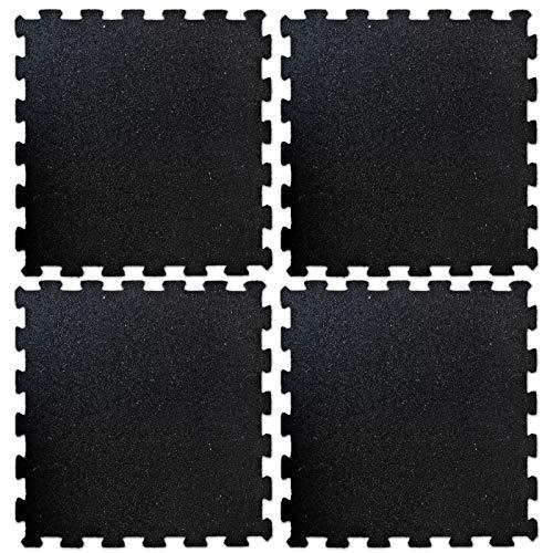 etm Pavimento Palestra Protettivo - Tappeto Fitness Palestra a Puzzle, Componibile   Set da 4 Pezzi 50x50 cm (1 m²) - Spessore 1 cm - Nero