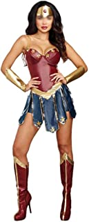 New Wonder Woman Diana Prince Cosplay Costume Batman V Superman Dawn of Justice Cosplay Outfit Superhero Halloween Party Sets (Color : Blue, Size : XL)