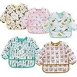 HaimoBurg 5 Pcs Long Sleeved Baby Toddler Bibs Waterproof Sleeved Bib 6-24 Months