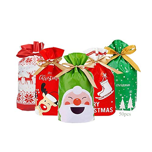 Anyingkai 50pcs Bolsa de Dulces Navideños,Bolsa de Dulces set,Bolsas de Regalo de Comunion,Bolsas de Regalo con Cordón de Navidad,Bolsas de Regalo con Cordón,Bolsa Navidad (F)