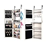 Bonnlo Jewelry Armoire with Keys, 2 in 1 Wall Mount and Door Hanging, 47 inch Magnetic Mirror