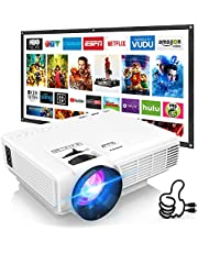 $67 » DRJ Upgrade 7500Lumens Mini Projector Outdoor Movie Projector with 100Inch Projector Screen, Full HD 1080P Projector Supported, Compatible with TV Stick, Video Games, HDMI, USB, TF, VGA, AUX, AV, PS4