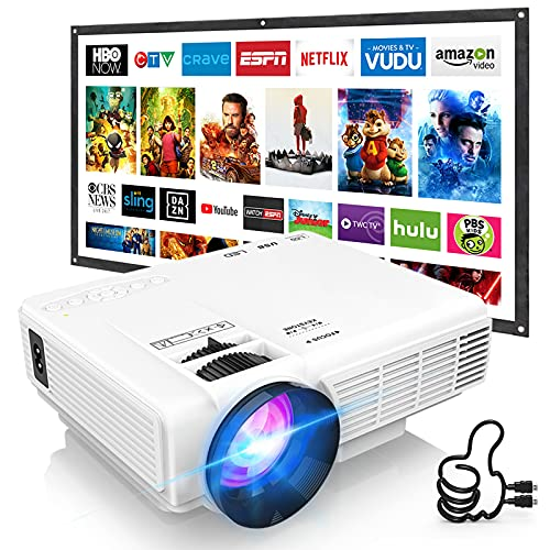 DRJ Upgrade 7500Lumens Mini Projector Outdoor Movie Projector with 100Inch Projector Screen, Full HD 1080P Projector Supported, Compatible with TV Stick, Video Games, HDMI, USB, TF, VGA, AUX, AV, PS4