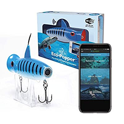 ECO-POPPER Underwater Live HD Camera & Fishing Lure with Free App (Blue Strike) Portable, Waterproof & Wireless Fish Finder