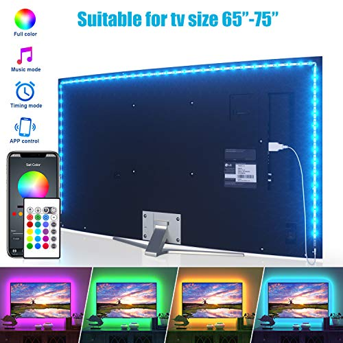 LED Strip Lights, Maylit TV LED Backlight 14.3ft for 65-75in TV Bluetooth Control Sync to Music, USB Bias Lighting TV LED Lights Kit with Remote - RGB 5050 LEDs Color Changing Lights for Room Bedroom
