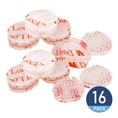 Double Sided Tape, Dual Lock, Reclosable Fastener Converted from 3M VHB SJ3560, Heavy Duty Mounting Tape, Clear 16-PCs 0.75 in Diameter Circle Pack, with Box Cutter (1PC) and Razor Replacement (2PCs)