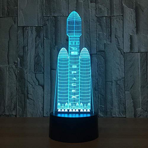 3D ilusión luz LED noche luz espacio transbordador 7 color x visual táctil lámpara de escritorio USB dormir niño regalo cumpleaños