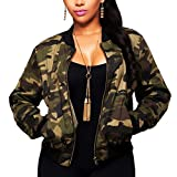 Women Camo Casual Jacket Sexy V Neck Long Sleeve Bodycon Camouflage Military Coat Pockets Zipper Slim Fit Lightweight, Army Camo, Medium