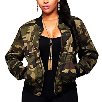 Sexycherry Faddish Military Casual Camouflage Lightweight Thin Short Jacket Coat For Women,Camouflage,Small