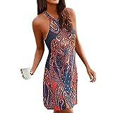 ITISME Vestiti Boemia Donna,Mini Abito Donna Halter NeckBoho Print Senza Maniche Casuale Spiaggia Vestito Estivo Beachwear