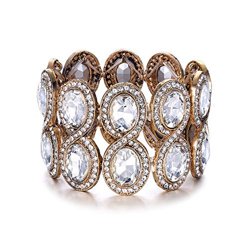 EVER FAITH Damen Armband Strass Kristall Art Deco Hochzeit Braut Elastisch Stretch Armreif Klar Gold-Ton
