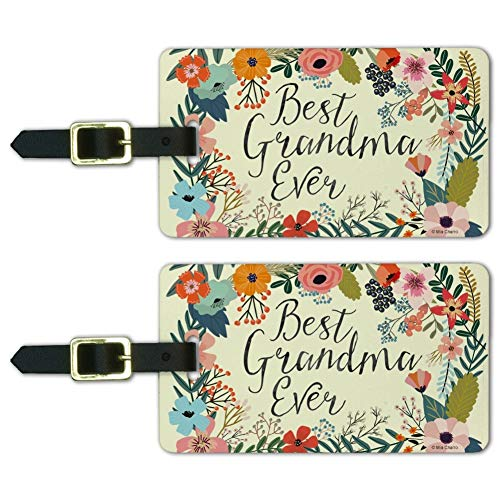 Best Grandma Ever Floral Luggage ID Tags Suitcase Carry-On Cards - Set of 2