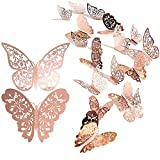 Adhesivo de pared de mariposa de 24 piezas, calcomanías de pared de mariposa 3D mixtas, adhesivos de pared vívidos(oro rosa)
