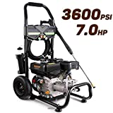 Pujua 3600PSI 2.8GPM Gas Pressure Washer Power Washer 212CC Gas Pressure Washer Powered, High-Pressure Hose 5 Nozzles
