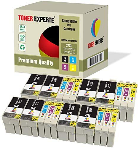 Pack de 20 XL TONER EXPERTE® Compatibles 27 27XL Cartuchos de Tinta para Epson Workforce WF-3620DWF, WF-3640DTWF, WF-7110DTW, WF-7210DTW, WF-7610DWF, WF-7620DTWF, WF-7710DWF, WF-7715DWF, WF-7720DTWF