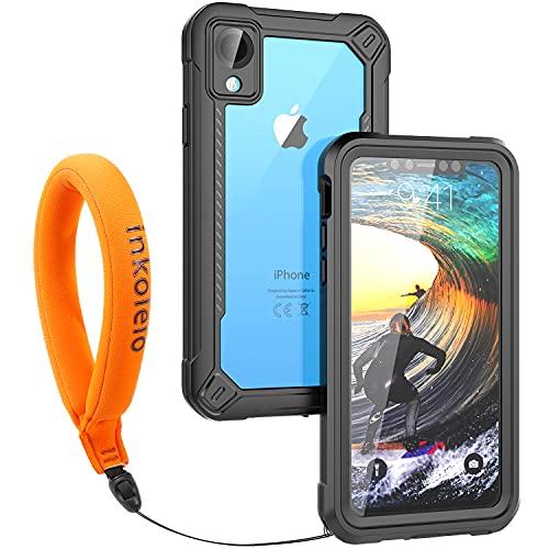 Funda Impermeable iPhone XR Protección IP68 Waterproof 360-Grados Carcasa Case Protectora Antigolpes Anti-rasguños Impermeable Carcasa con Correa flotante para Apple iPhone XR (Negro mate/Naranja)