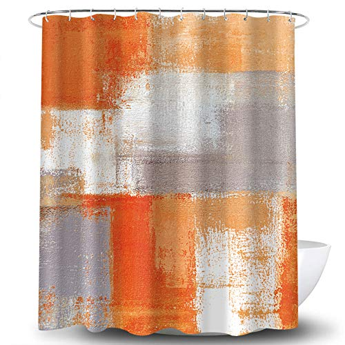COLORPAPA Shower Curtain Orange Beige Gray Modern Abstract Painting Home Bathroom Decor Fabric Waterproof 72 x 72 Inches Set with Hooks Burnt Orange