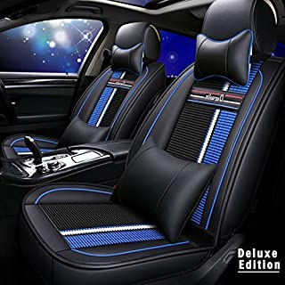 Muchkey 3D Surrounded Luxury PU Leather+Knitted Car Seat Cover for VW Volkswagen Exclusive Amarok Full Set 5-Seats car seat Cover Front+Rear Cushion,Airbag Compatible