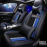 Muchkey Améliorée 5 Places Housses pour Siège Auto Toute la Saison Ensemble Complet pour pour Ford Mustang S-Max Galaxy avec Coussin Appui-tête & Oreillers Lombaire Style B Noir-Bleu