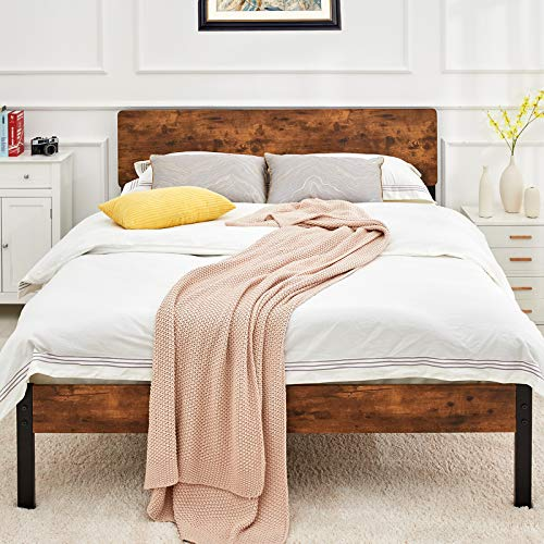 Kealive Full Size Bed Frame with Wood Headboard, Rustic Country Style Platform Bed Frame, Mattress Foundation, Strong Metal Slats Support, No Box Spring Needed, Easy Assembly