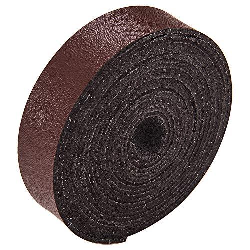 GORGECRAFT Correa de cuero de 3/4 pulgadas de ancho 78 pulgadas de largo de microfibra de imitación de cuerda de cuero trenzado plano para manualidades, herramientas de taller, hecho a mano, café