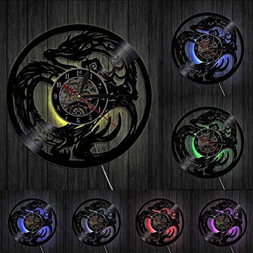 Yin Yang Dragón Arte Antiguo Mítico Animal Reloj de Pared de Fantasía China Monstruo Vinilo Record Reloj de Pared Decoración del Hogar Reloj Regalo Luces LED