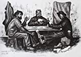 Three Guys Playing Cards Artwork Charcoal Drawing Print