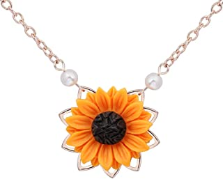 MTRSUE Sunflower Pearl Leaf Chain Resin Boho Handmade Drop Pendant Choker Necklace Plated Silver