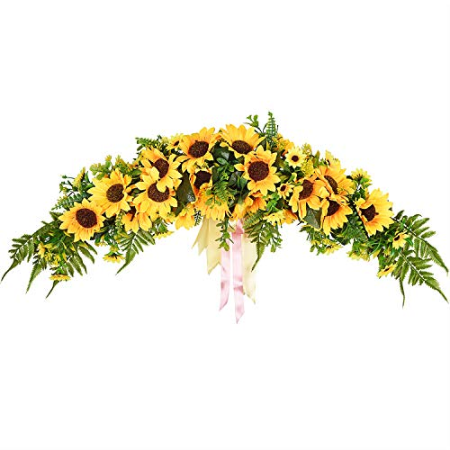Lvydec Artificial Sunflower Swag, 25' Decorative Swag with Sunflowers, Green Leaves and Silk Ribbon for Wedding Arch Front Door Wall Decor
