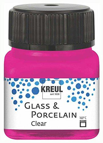 Kreul 16210 - Glass und Porcelain Clear, transparente Glas- und Porzellanmalfarbe auf Wasserbasis, schnelltrocknend, glasklar, 20 ml, pink