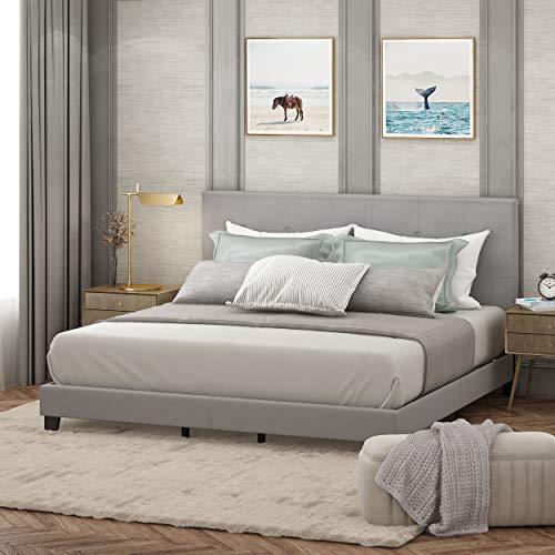FURINNO Laval Button Tufted Upholstered Platform Bed - King (Glacier)