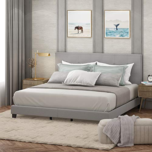 FURINNO Laval Bed Frame, King, Glacier