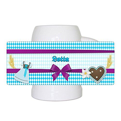 Bierkrug mit Namen Lotta und schönem Motiv mit Rauten , Dirndl und Lebkuchen-Herz   Bier-Humpen   Bier-Seidel für Frauen