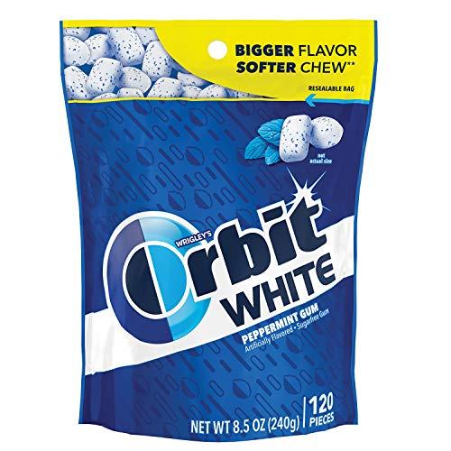 ORBIT Gum WHITE Peppermint Sugar Free Chewing Gum, 8.5 Ounces Resealable Bag 120 Pieces (8 Pack)