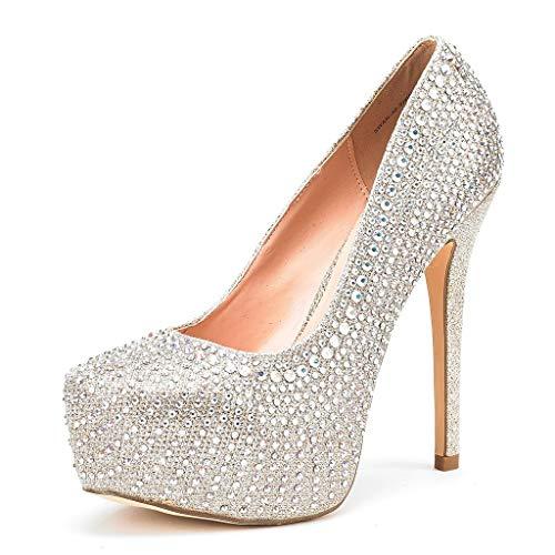 DREAM PAIRS Women's Swan-30 Shine Gold High Heel Plaform Dress Pump Shoes - 8 M US
