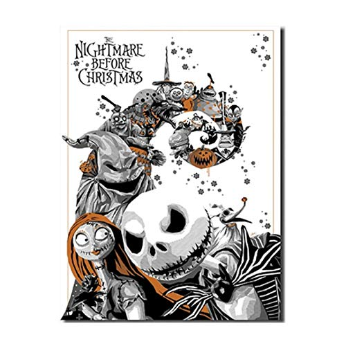YGWDLON Stampe su Tela Poster Wall Art Black White Painting The Nightmare Before Christmas Picture Camera dei Bambini in Stile Nordico Decorazione della casa-60x80cm No Frame