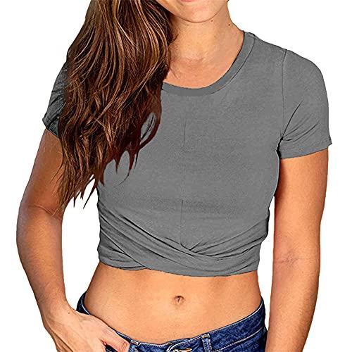 PRJN Camiseta Corta de Gran tamaño para Mujer, Camisetas de Manga Corta para Mujer, jerséis para Mujer, Camisetas de béisbol, Cuello Redondo, Camiseta de Color sólido, Jersey, Blusa Informal