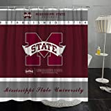 Mississippi State Shower Curtain Splicing College Covers American School University Multicolored Creative Washable Bathroom Curtain Sets with Hooks Decoration 70x70 Inches