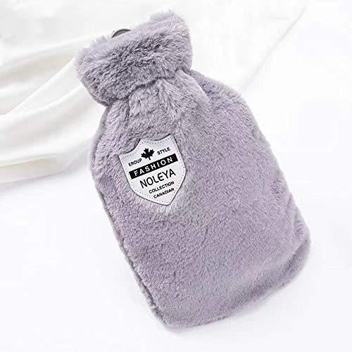 Waermflasche,Bettflasche 1L Wärmflasche mit weichem Bezug Wärmeflasche für Nacken und Schulter,Cashmereweichen,Langlebig- Grau