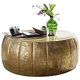 FineBuy Couchtisch JAMALI 72x31x72cm Aluminium Beistelltisch Gold orientalisch rund | Flacher Sofatisch Metall | Design Wohnzimmertisch modern | Loungetisch Stubentisch klein