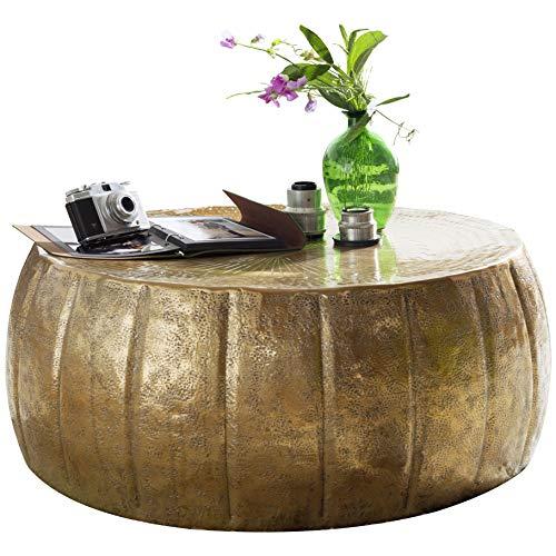 FineBuy Couchtisch JAMALI 72x31x72cm Gold Aluminium Beistelltisch orientalisch rund | Flacher Sofatisch Metall | Design Wohnzimmertisch modern | Loungetisch Stubentisch klein