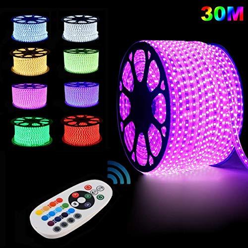 GreenSun LED Lighting Ruban à LED, étanche, 30m RGB Bande LED Lumineuses aux couleurs changeantes avec une télécommande RF de contrôleur à 24 Touches Pour Les Jardins, Maisons, Cuisine, Fête de Noël