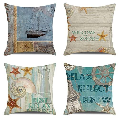 JOVEGSRVA Juego de 4 fundas de almohada decorativas de estrellas de mar de dibujos animados de 45 cm x 45 cm para sofá de sala de estar